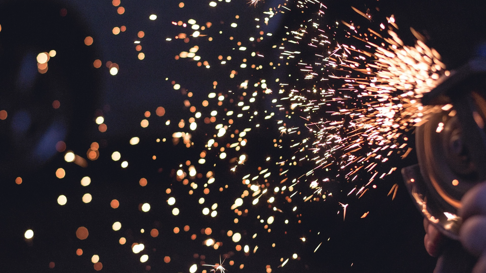 Photo of welding sparks.